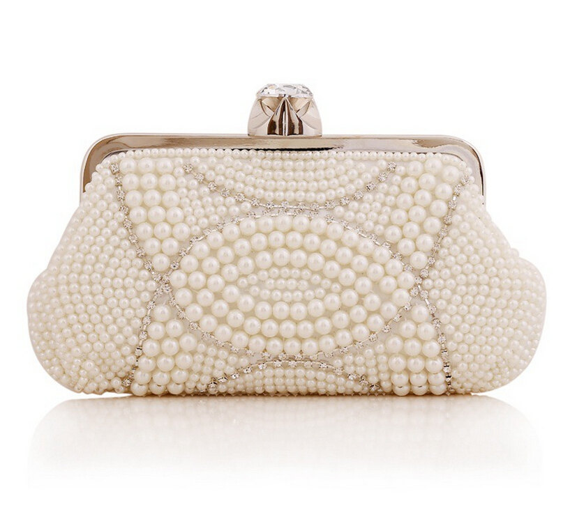 High-grade Women Hand-beaded Clutch Elegant Pearl Diamond Evening Bag Wedding Banquet Bridal Handbag Purse Chain Bag(NB10027)