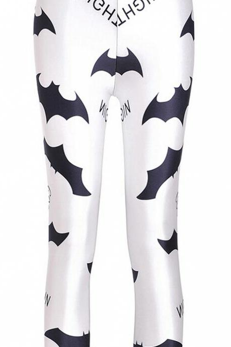 Black and White Bats Printed Leggings Pants Sexy Slim Long Pencil Trousers/Fashion Tights Lgs3608