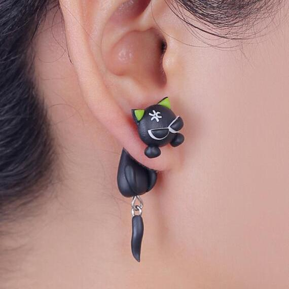 Polymer Clay Angry Black Cat  Earring