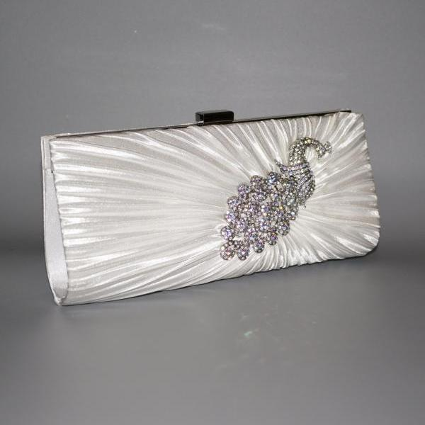 High-grade Women Handbag Rhinestone Satin Pleated Peacock Wedding Bridal Evening Bag Party Lady Purse With Chain (NB10037)