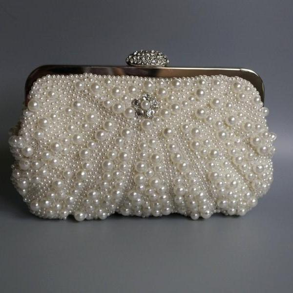 High-grade pearl bag handbag, bride handbag,wedding bag,party handbag,beaded wedding bag(NB10028)